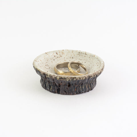 Ceramic Ring Dish with Tree Bark Texture - Dark Stoneware with Midnight and White Glaze