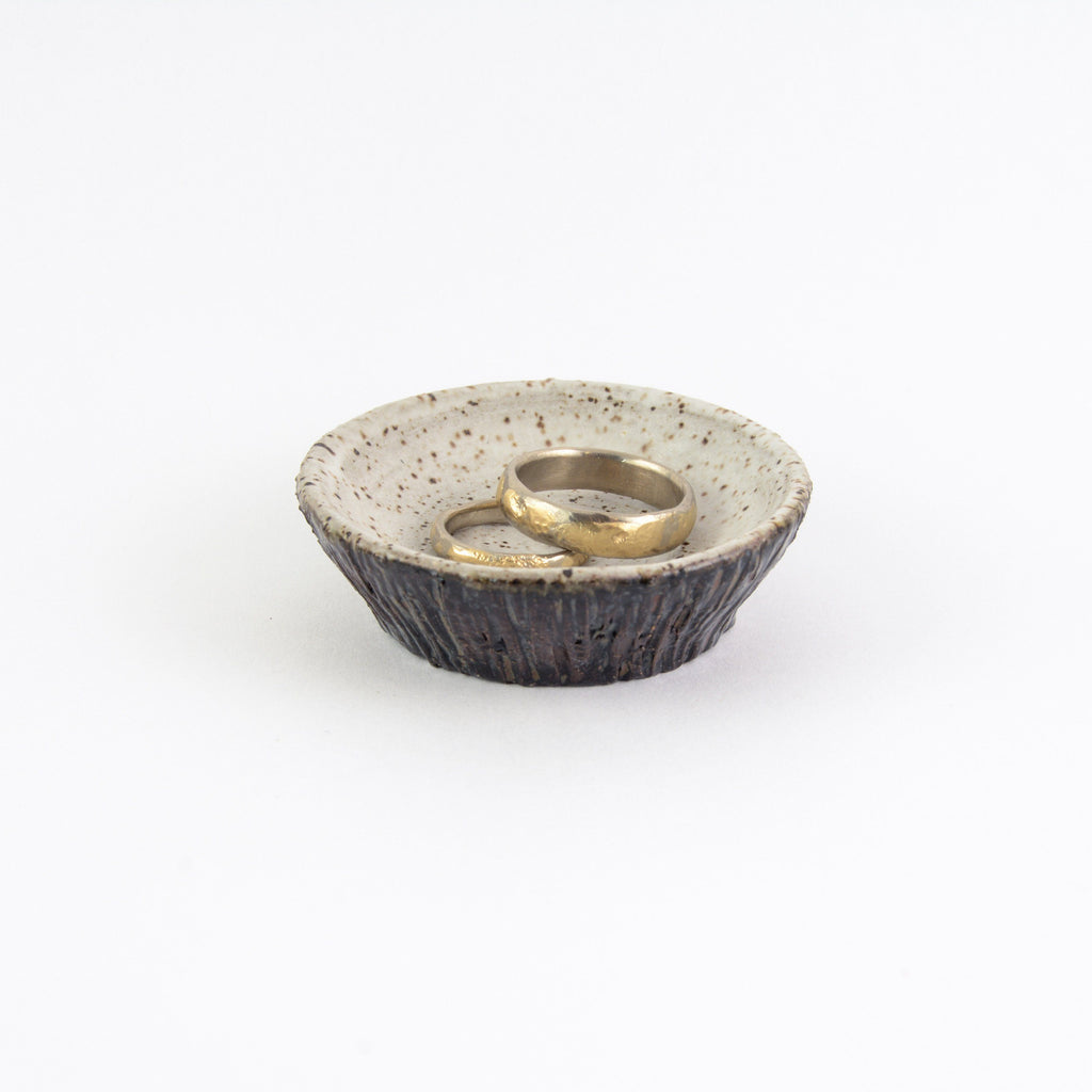 Ceramic Ring Dish with Tree Bark Texture - Dark Stoneware with Mottled Midnight and White Glaze