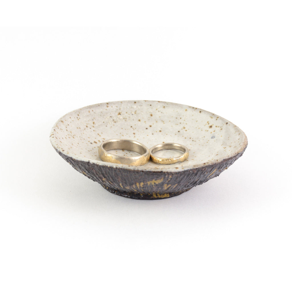 Ceramic Ring Dish with Tree Bark Texture - Dark Stoneware with Tea Dust Glaze