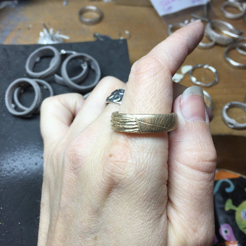 Custom Order Leaf Imprint and Tree Bark ring