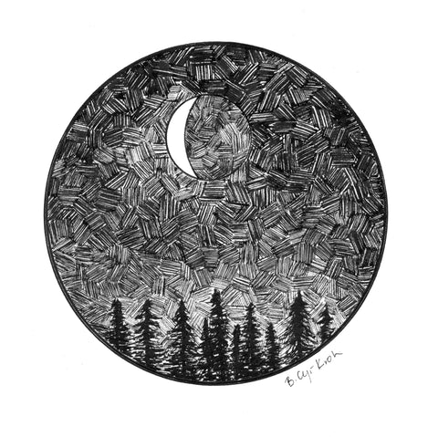 Dark Sky - Crescent Moon Over Trees - Giclee Print - Beth Cyr Handmade Jewelry