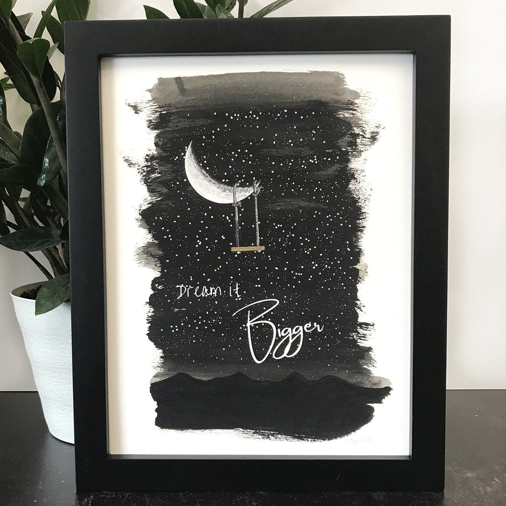 Dream it Bigger - Moon and Swing - Art Print