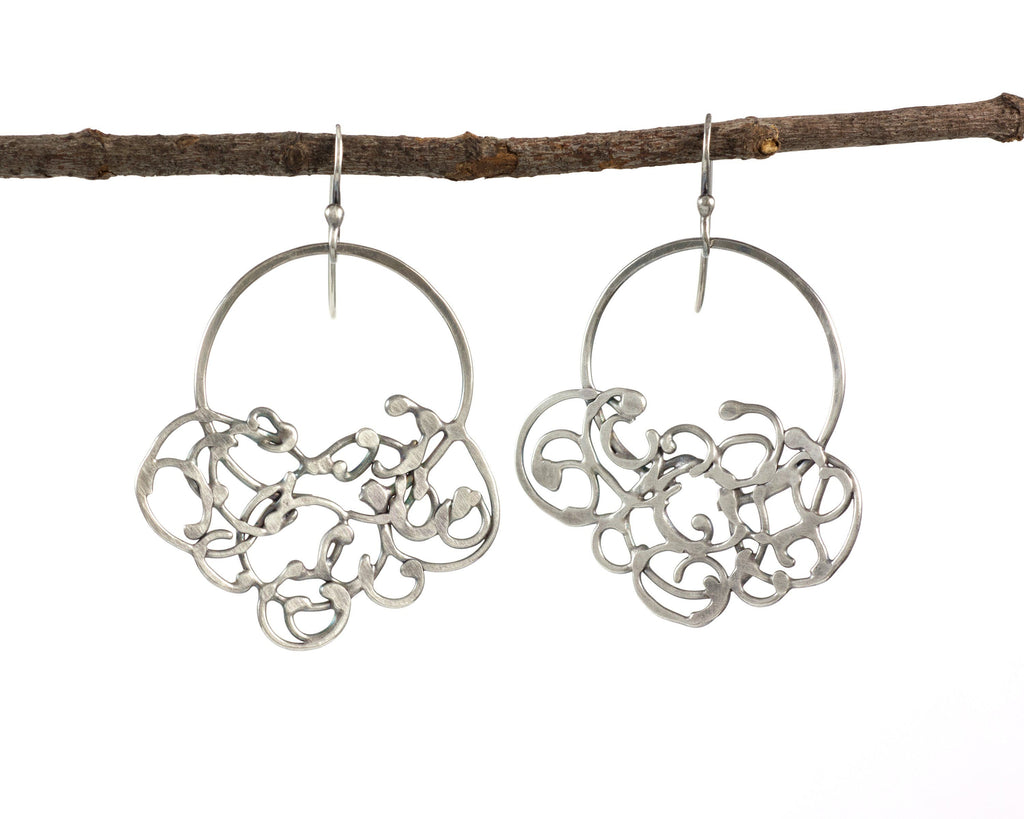 Circle and Hanging Organic Vine Earrings in Sterling Silver #25 - Light Patina - Ready to Ship