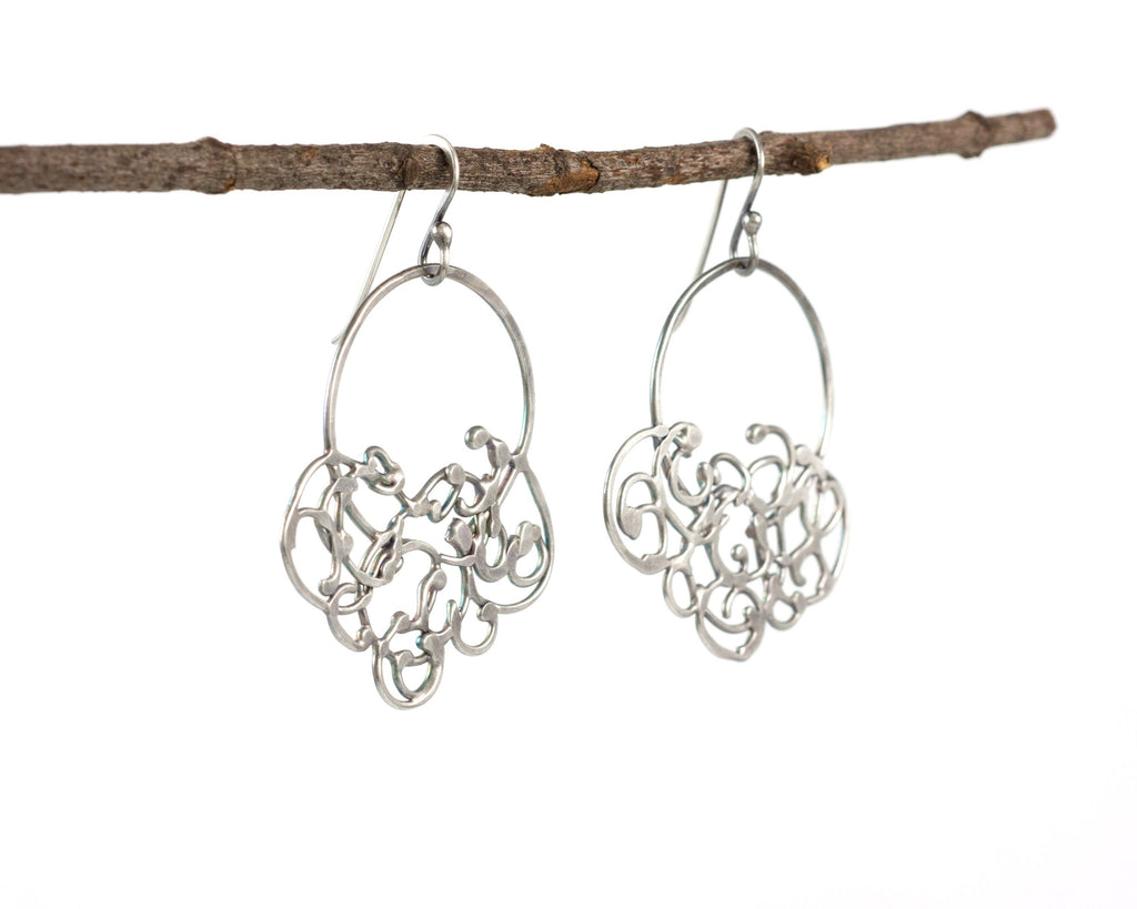 Circle and Hanging Organic Vine Earrings in Sterling Silver #25 - Light Patina - Ready to Ship - Beth Cyr Handmade Jewelry