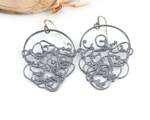Circle and Hanging Organic Vine Earrings in Sterling Silver #24 - Ready to Ship - Beth Cyr Handmade Jewelry
