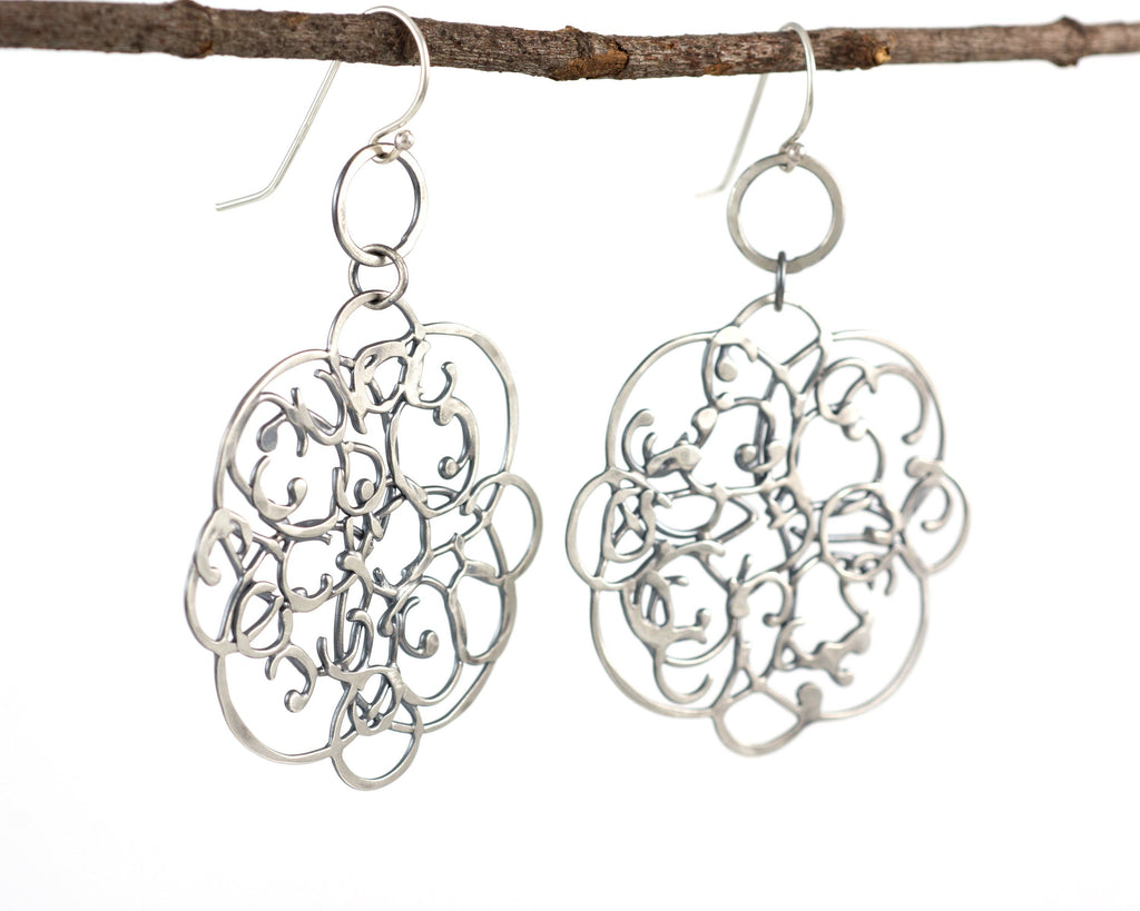 Tiny Circle and Organic Vine Earrings in Sterling Silver #26 - Light Patina - Ready to Ship