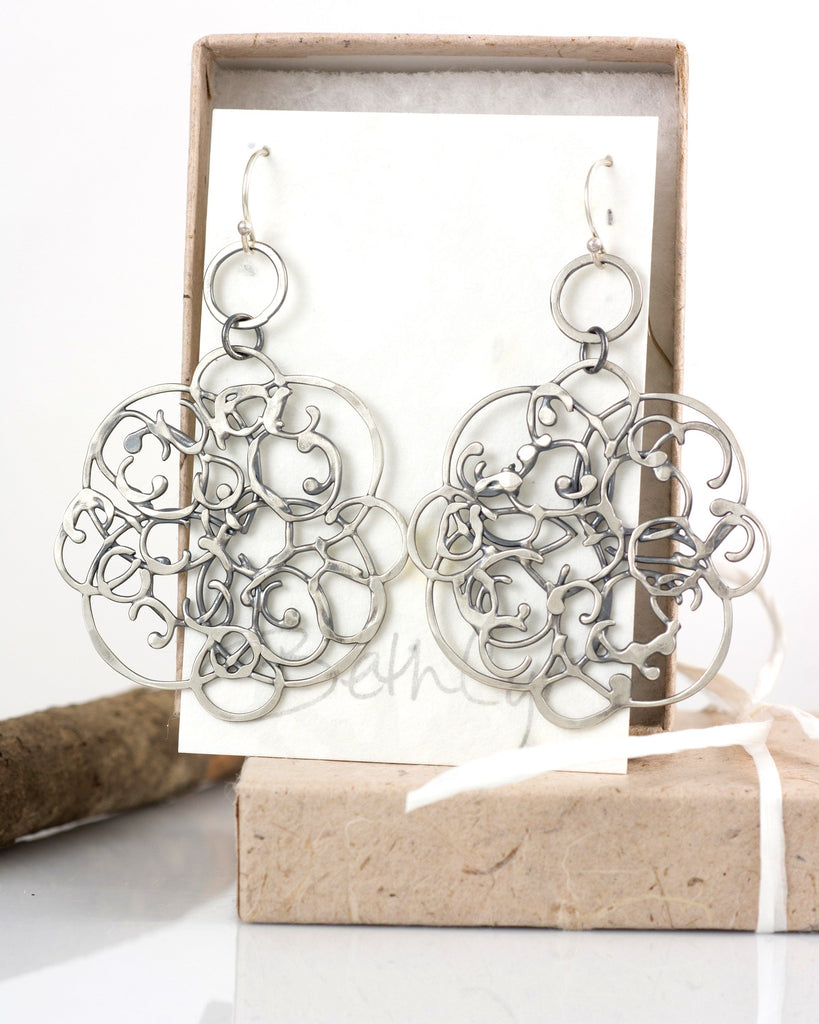 Tiny Circle and Organic Vine Earrings in Sterling Silver #26 - Light Patina - Ready to Ship - Beth Cyr Handmade Jewelry