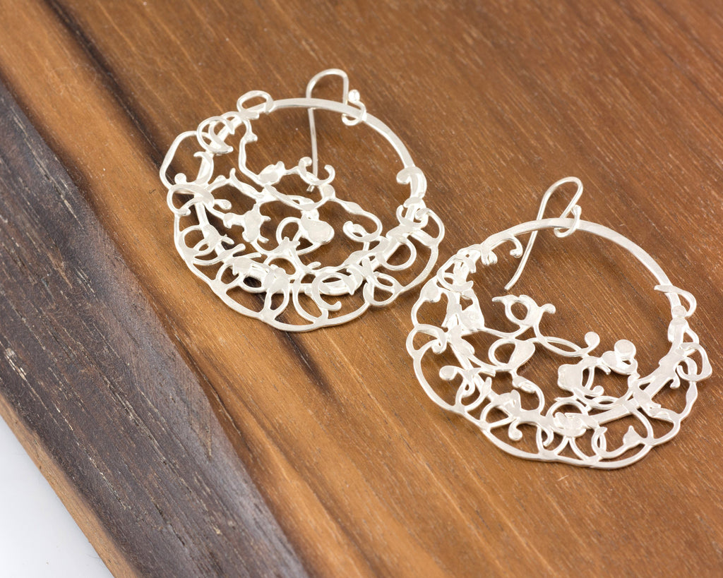 Circle and Climbing Organic Vine Earrings in Sterling Silver #27 - Shiny Finish - Ready to Ship