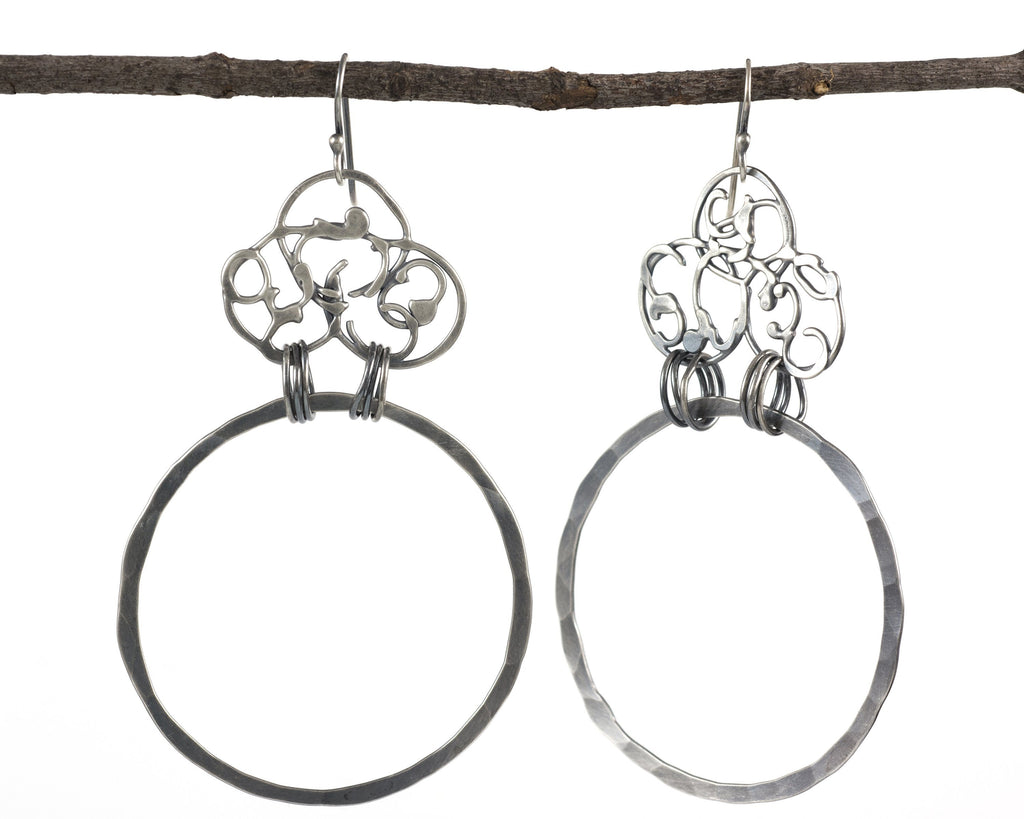 Organic Vine and Large Circle Earrings in Sterling Silver #20 - Ready to Ship
