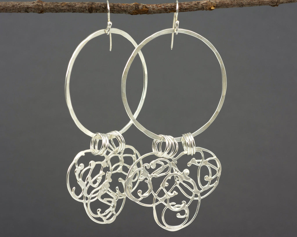 Large Circle and Organic Vine Earrings in Sterling Silver #23 - Ready to Ship