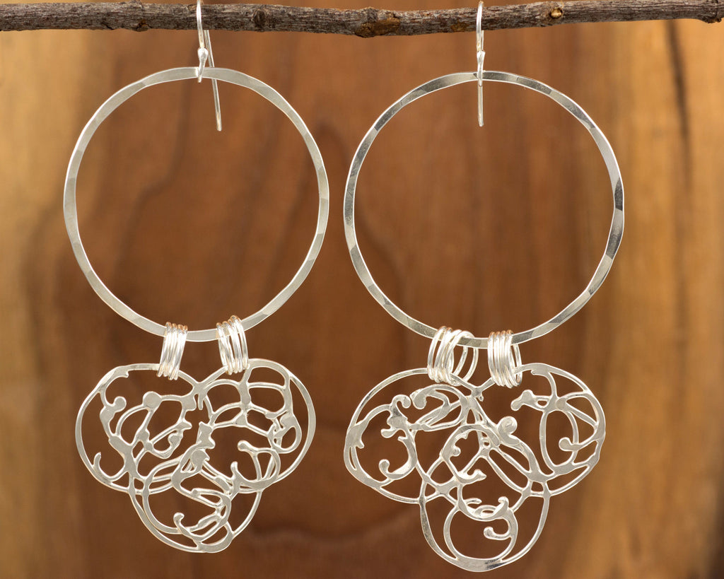 Large Circle and Organic Vine Earrings in Sterling Silver #23 - Ready to Ship - Beth Cyr Handmade Jewelry