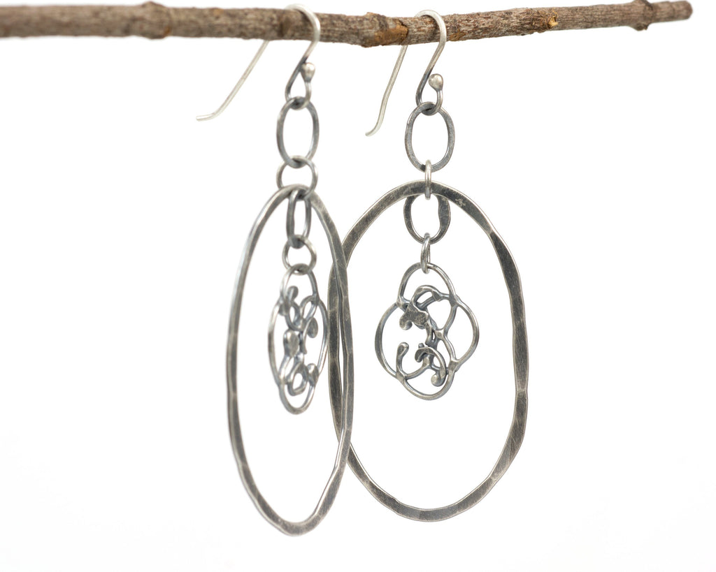 Large Oval and Organic Vine Earrings in Sterling Silver #21 - Ready to Ship