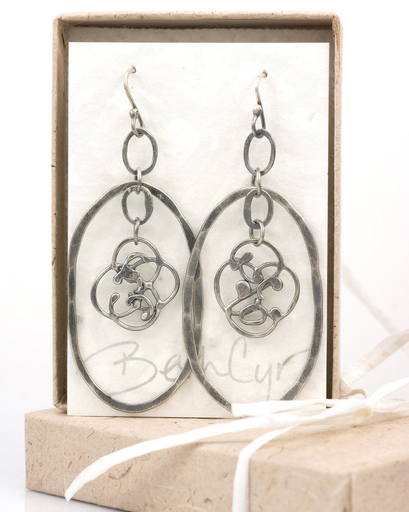 Large Oval and Organic Vine Earrings in Sterling Silver #21 - Ready to Ship - Beth Cyr Handmade Jewelry