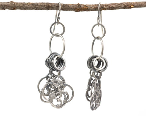 Dangling Organic Vine Charms and Circle Earrings in Sterling Silver #22 - Ready to Ship