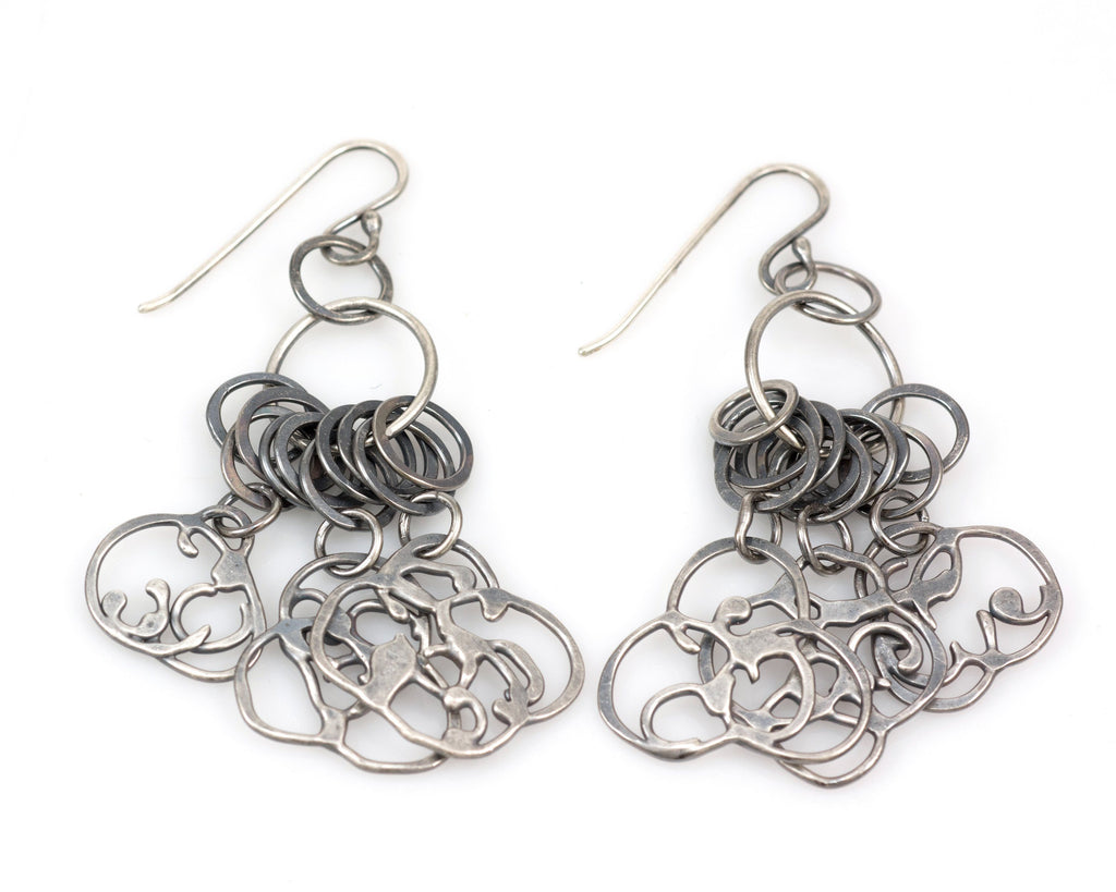 Dangling Organic Vine Charms and Circle Earrings in Sterling Silver #22 - Ready to Ship - Beth Cyr Handmade Jewelry