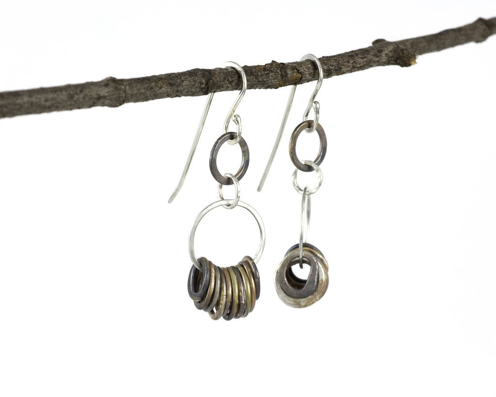 Two Tier Circle Earrings in Sterling Silver #4 - Ready to ship