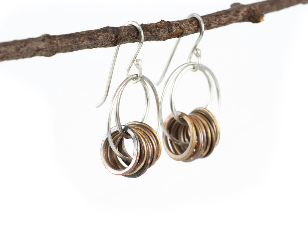Double Circle Earrings in Sterling Silver #5 - Ready to Ship - Beth Cyr Handmade Jewelry