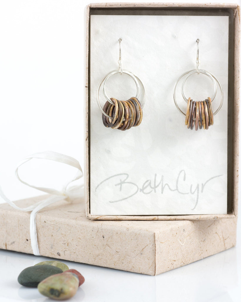 Double Circle Earrings in Sterling Silver #5 - Ready to Ship
