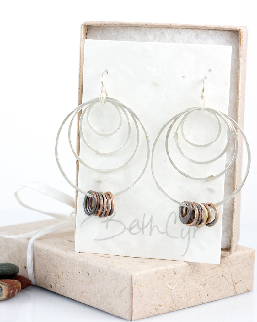Four Circle Earrings in Sterling Silver #6 - Ready to ship