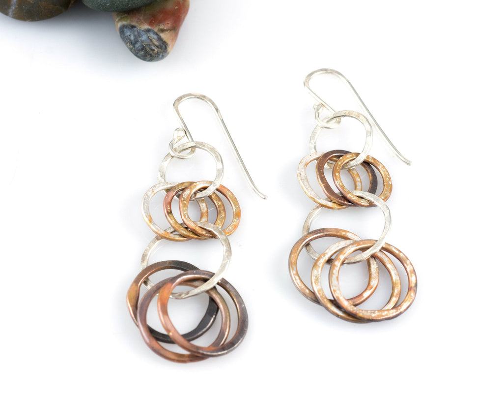 Multi-tier Circle Earrings in Sterling Silver #7 - Ready to ship - Beth Cyr Handmade Jewelry