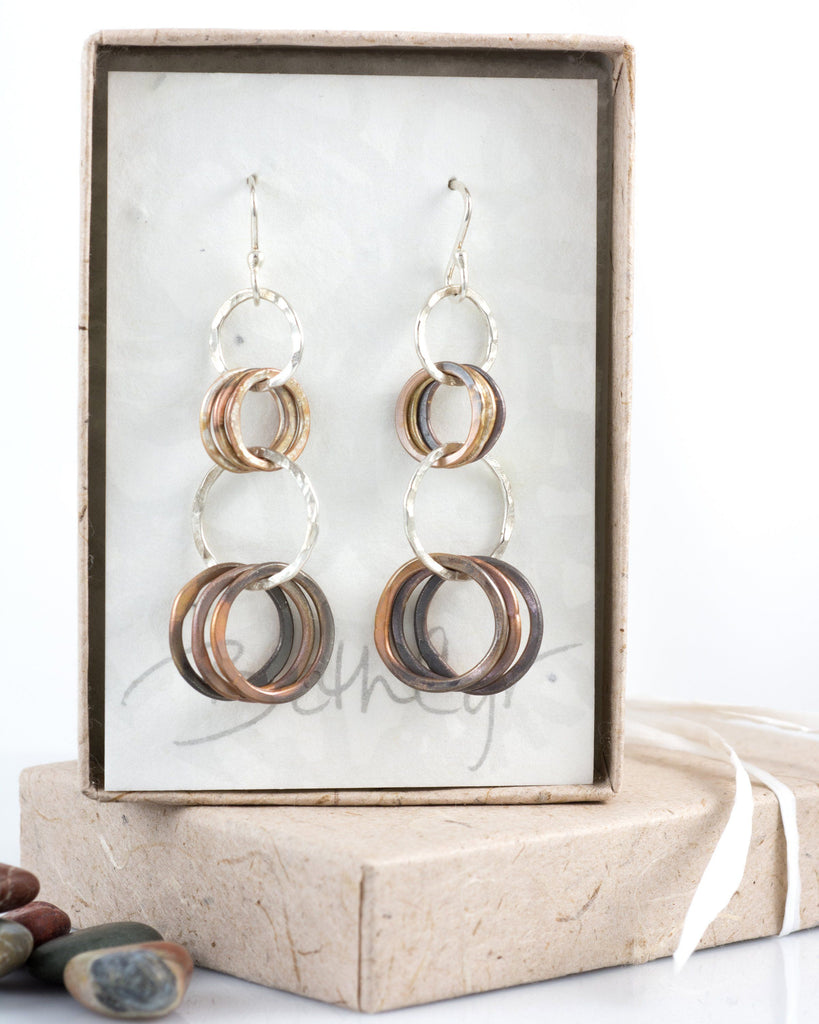 Multi-tier Circle Earrings in Sterling Silver #7 - Ready to ship