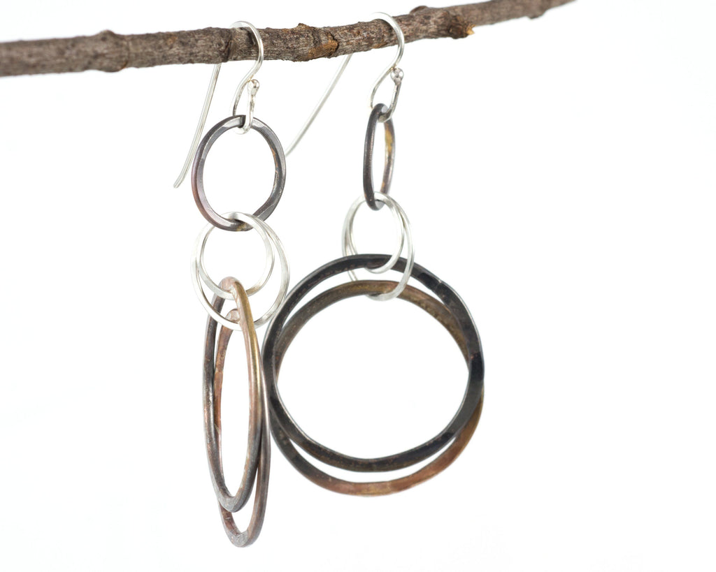 Double Layered Circle Earrings in Sterling Silver #8 - Ready to ship