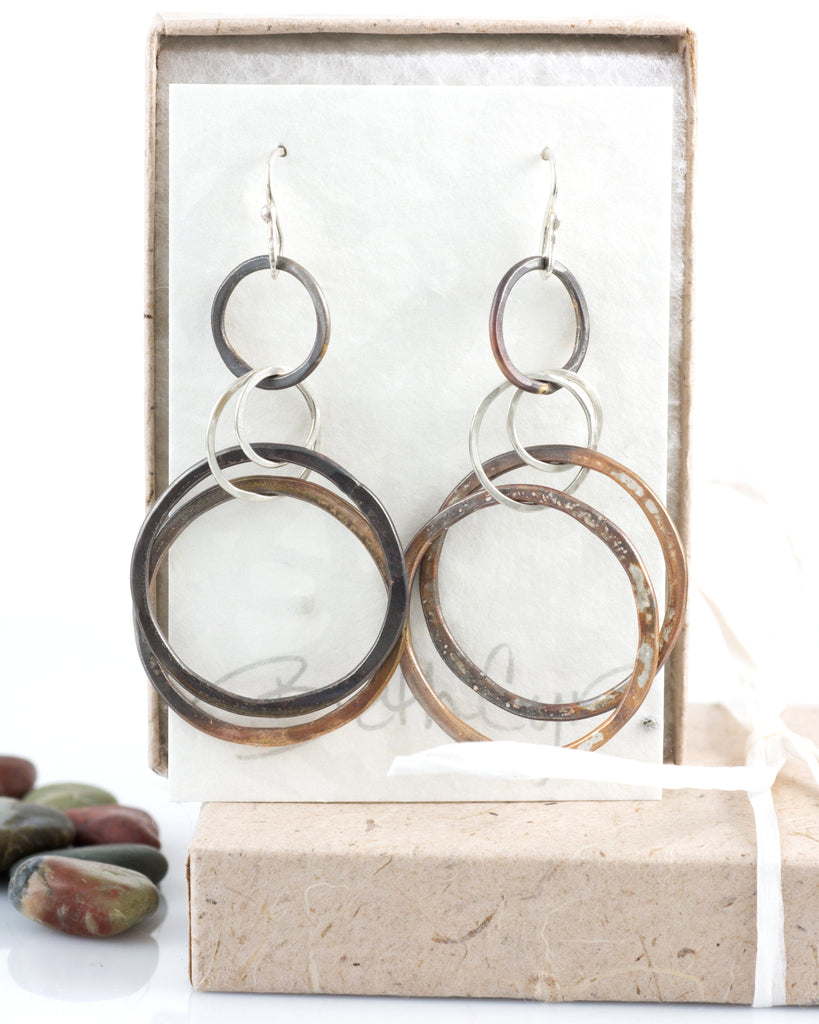 Double Layered Circle Earrings in Sterling Silver #8 - Ready to ship - Beth Cyr Handmade Jewelry