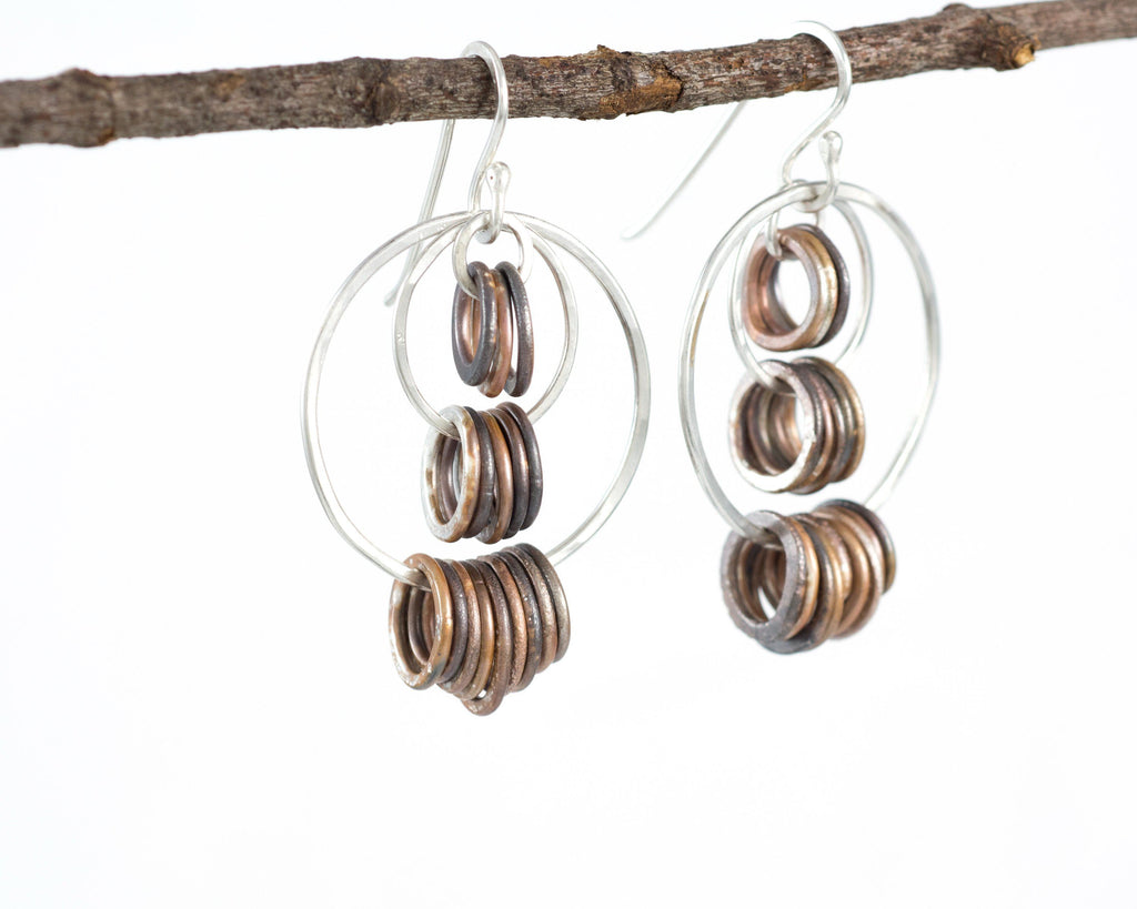 Triple Tier Circle Earrings in Sterling Silver #9 - Ready to ship