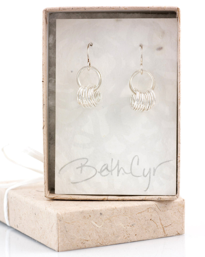 Tiny Circle Earrings in Sterling Silver and Fine Silver #10 - Ready to ship - Beth Cyr Handmade Jewelry