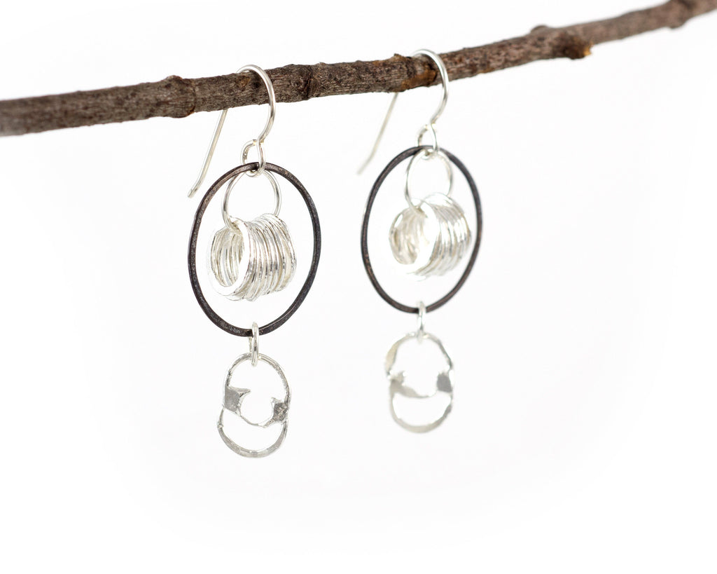 Circle Comet Earrings in Sterling Silver and Fine Silver #12 - Ready to Ship - Beth Cyr Handmade Jewelry