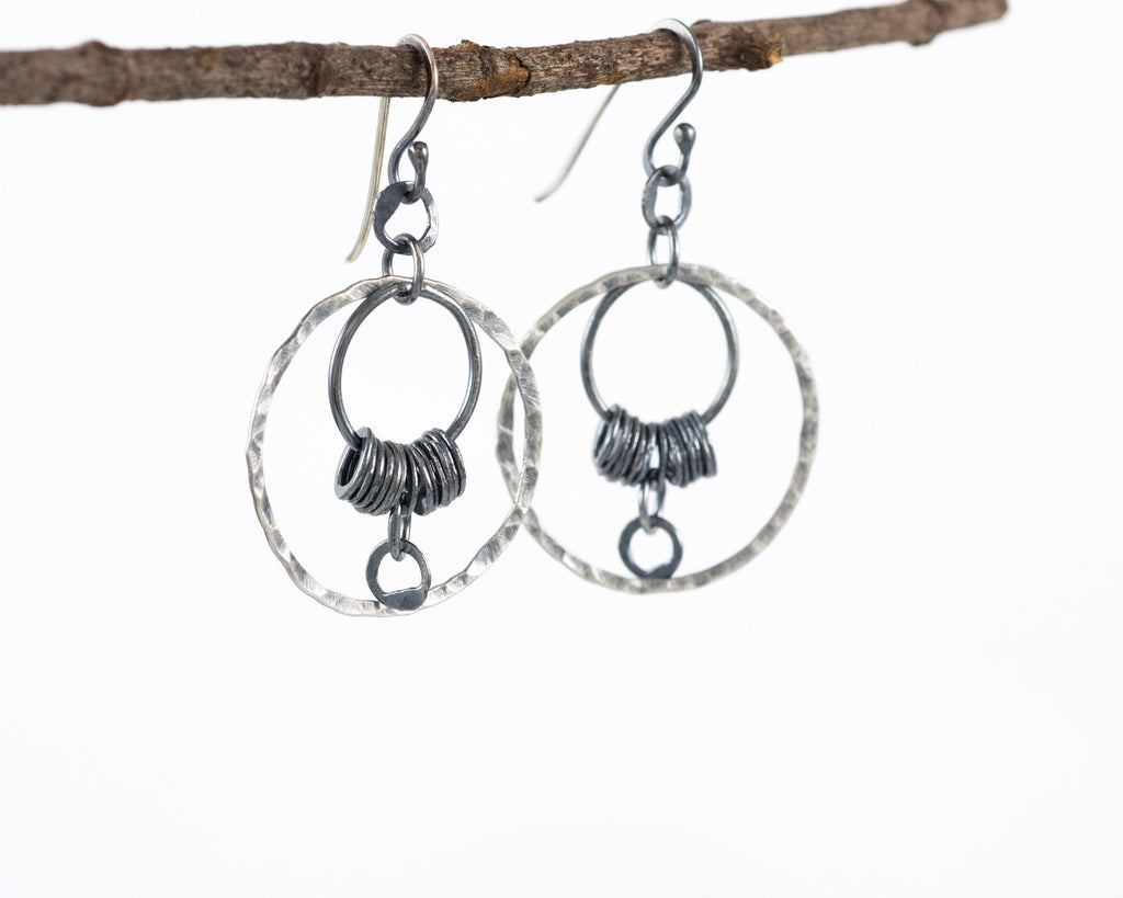 Circle La Luna Earrings in Sterling Silver and Fine Silver #13 - Ready to Ship