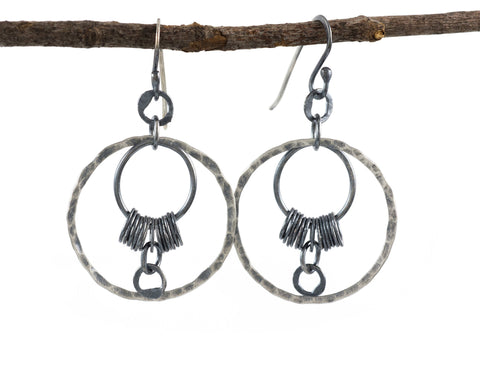 Circle La Luna Earrings in Sterling Silver and Fine Silver #13 - Ready to Ship - Beth Cyr Handmade Jewelry
