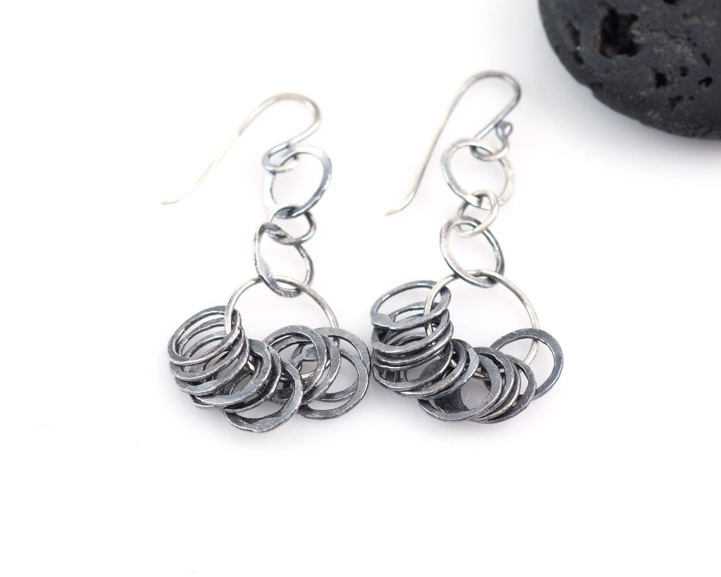 Circle Cluster Earrings in Sterling Silver and Fine Silver with Dark Patina #14 - Ready to Ship