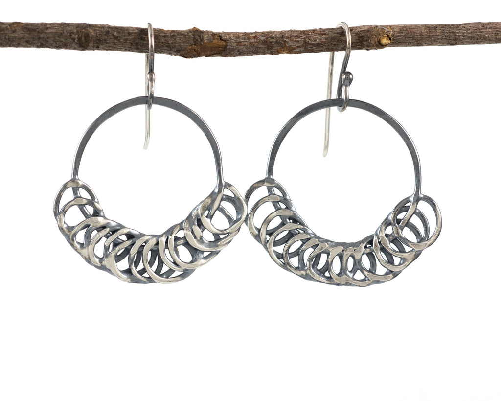 Segmented Circle Earrings in Sterling Silver #17 - Ready to Ship - Beth Cyr Handmade Jewelry