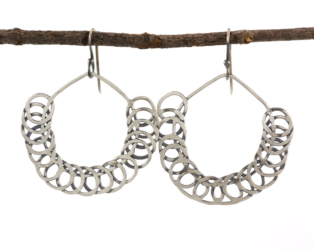 Segmented Circle Earrings in Sterling Silver #16 - Ready to Ship