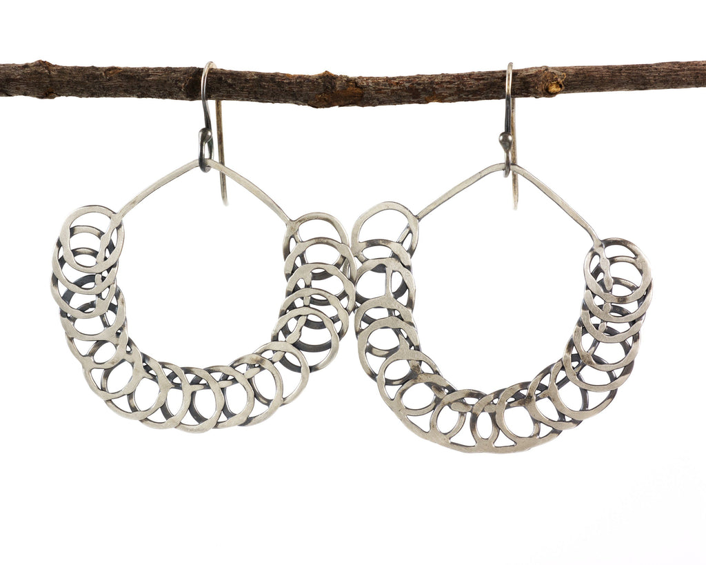 Segmented Circle Earrings in Sterling Silver #16 - Ready to Ship - Beth Cyr Handmade Jewelry