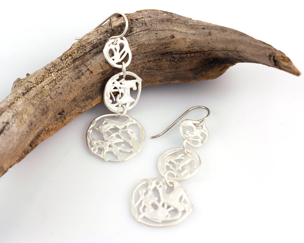 Driftwood Triple Circle Earrings in Sterling Silver #19 - Ready to Ship