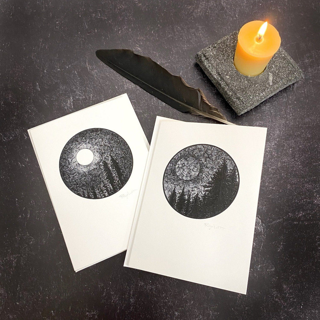 Dark Sky Full Moon and New Moon Notecard Set - Card Size 4.5 x 6.25 - ready to ship