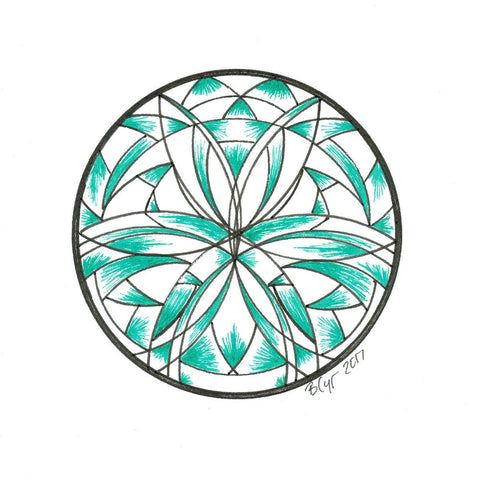 Green Shade Mandala - Original Drawing