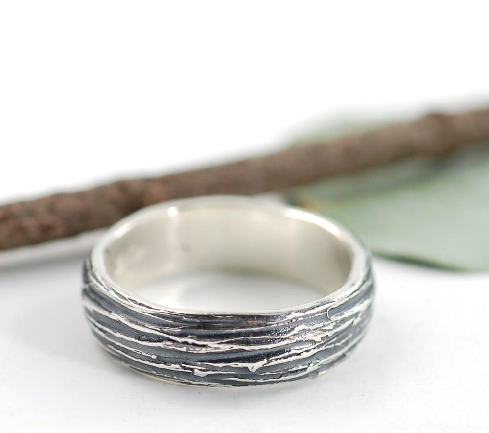Tree Bark Wedding Rings in Palladium Sterling Silver  - Made to Order