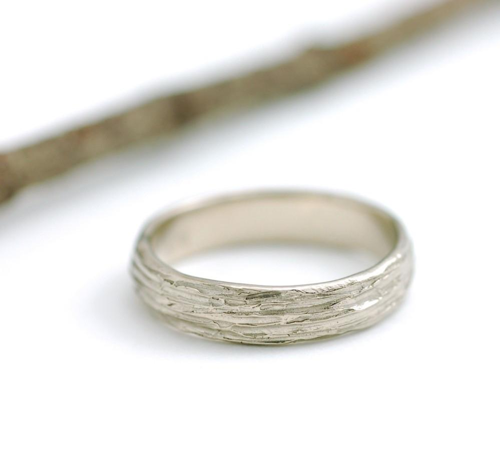 Tree Bark Wedding Rings in 14k and 18k Palladium White Gold - Made to Order