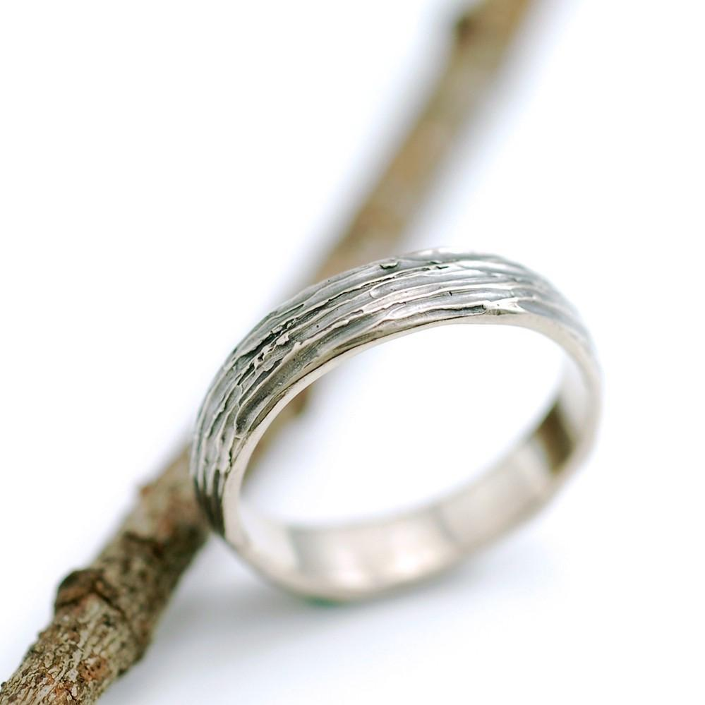 Tree Bark Wedding Rings Palladium White Gold - Made to Order - Beth Cyr Handmade Jewelry