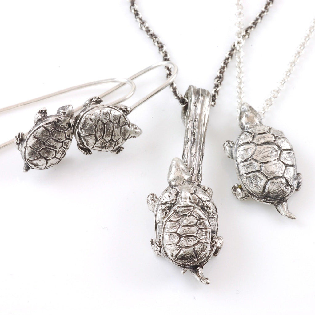 Turtle Earrings in Sterling Silver - Ready to Ship - Beth Cyr Handmade Jewelry