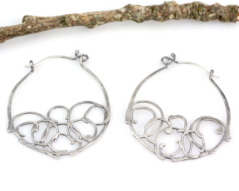 Medium Organic Vine Hoops and Circle Earrings in Sterling Silver - Made to Order - Beth Cyr Handmade Jewelry