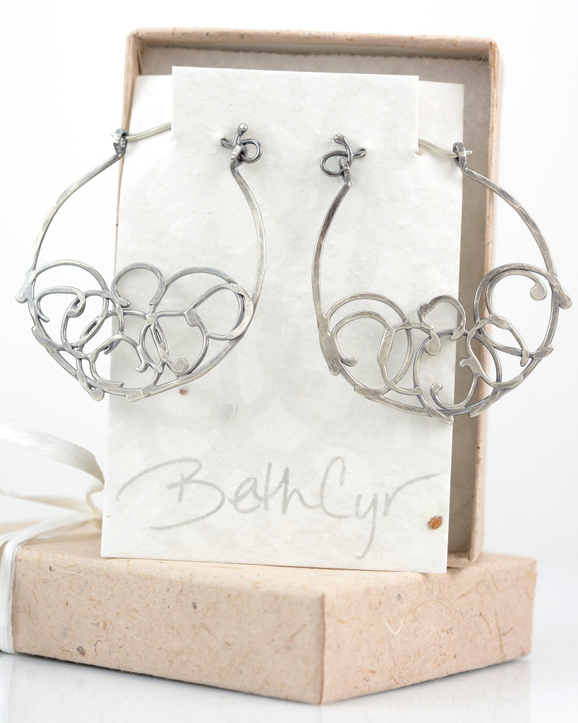 Medium Organic Vine Hoops and Circle Earrings in Sterling Silver - Ready to Ship