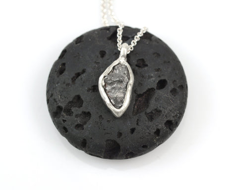 Meteorite Pendant in Sterling Silver #31 - Ready to Ship