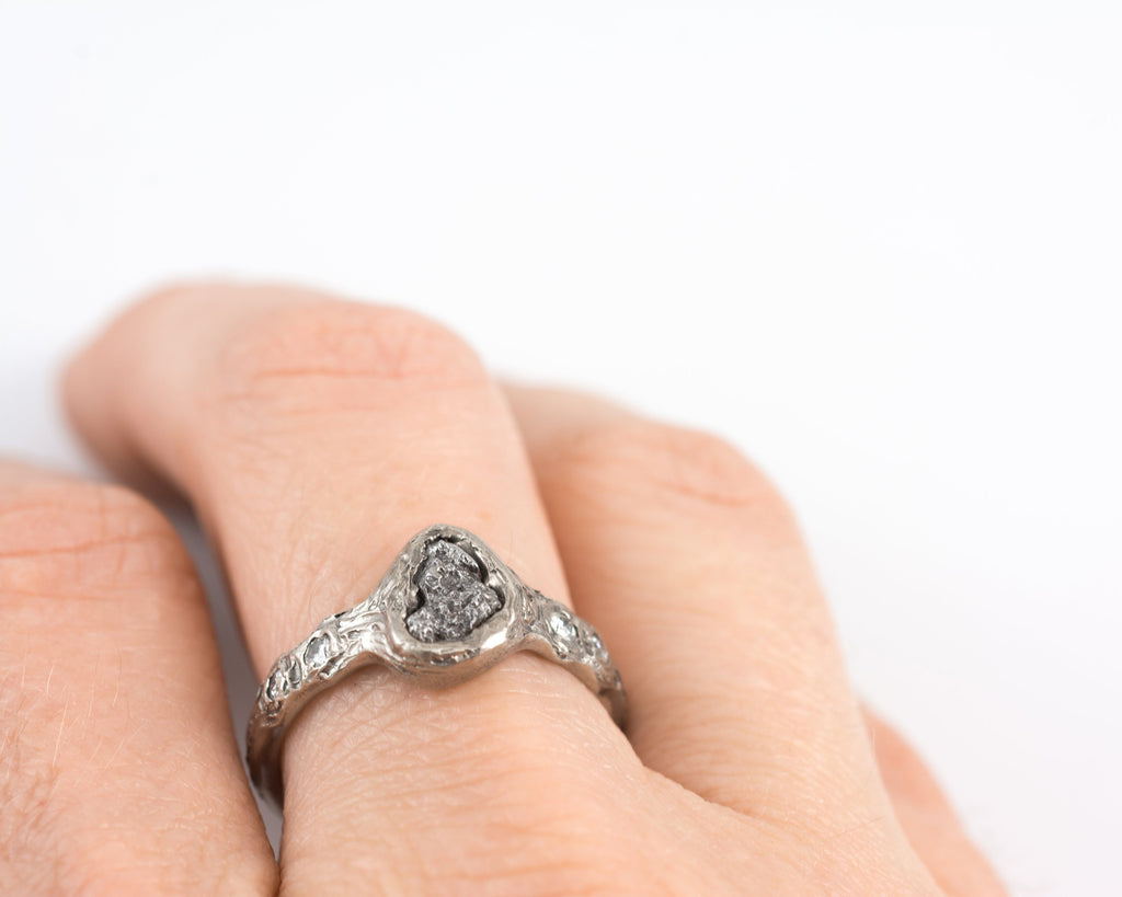 Custom Meteorite Engagement Ring with moissanite in Palladium/Silver with Tree Bark Texture - size 4 - Made to Order - Beth Cyr Handmade Jewelry