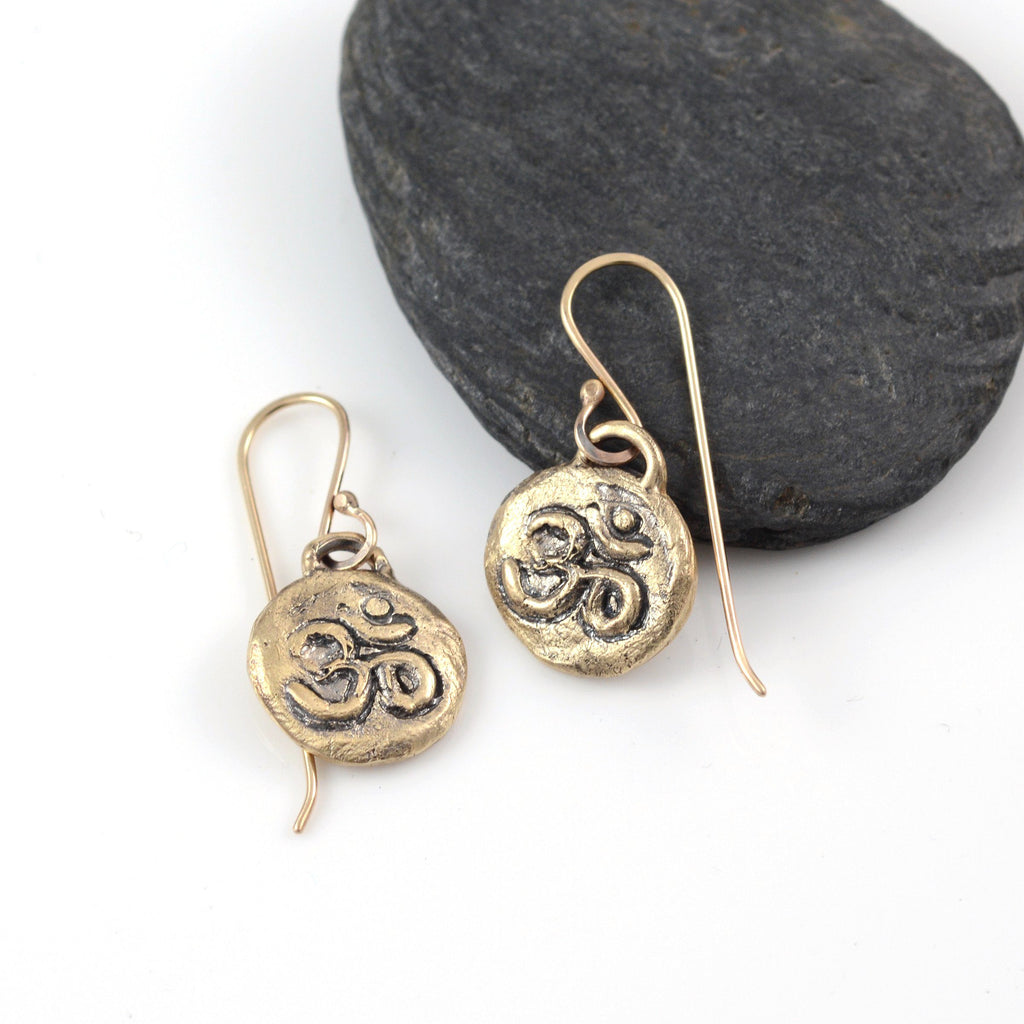 Om Earrings - 14k Yellow Gold - Ready to Ship - Beth Cyr Handmade Jewelry