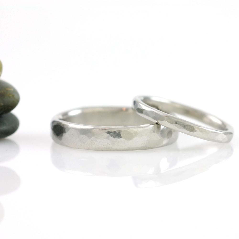 Simple Hammered Wedding Rings in Palladium 950 - Made to Order - Beth Cyr Handmade Jewelry