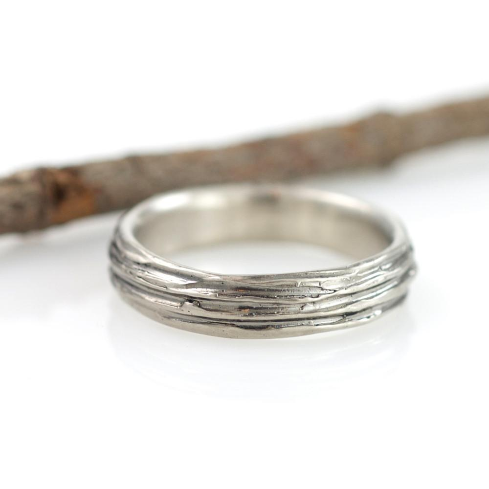 Tree Bark Ring in Palladium/Silver - size 5 - Ready to Ship - Beth Cyr Handmade Jewelry